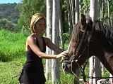Aline suck and fuck her horse
